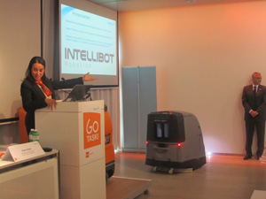 Diversey Care President, Dr. Ilham Kadri announces the acquisition of Intellibot Robotics at a special press conference in Zurich